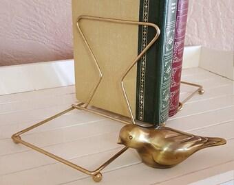 Folding Brass Book Rack - Adjustable Bookends - Oak Hill Vintage