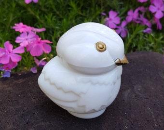 Avon Owl Owlet Bird Bottle - Snow Bird - White Milk Glass - Perfume Jar Decanter - Oak Hill Vintage