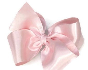 "Pink Hair Bow 5"" Pink Satin Hair Accessory Light Pale Pink  Flower Girl  Hairbow Sassyx Bow by Seriously Sassyx"