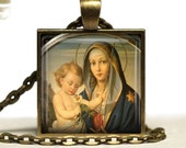 Holy Mother Child Jesus Jewelry Christian Glass Tile Pendant Necklace Madonna