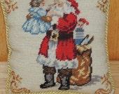 Needlepoint Santa Miniature Pillow