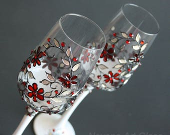 Wine Glasses, Wedding Glasses, Champagne Glasses, Red Wedding, Winter Wedding, Hand painted, Set of 2