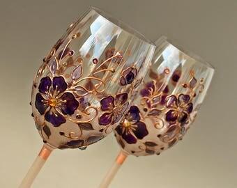Wine Glasses, Copper Anniversary, Purple Glasses, Wedding Glasses, Hand painted Set of 2