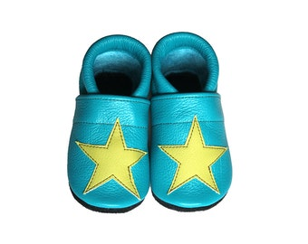 Leather Baby Booties, Baby Shoes, Stars Infant Newborn Nursery Children Turquoise Green