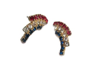 Patriotic rhinestone earrings, gold tone, red, white, blue, vintage jewelry, fourth of july, flag day, mid century, retro, stud earrings