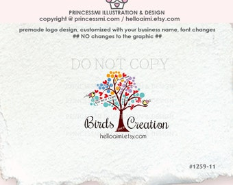 1259-11 Tree logo design, heart circle tree logo, with birds photography, business logo , boutique, watermark tree logo