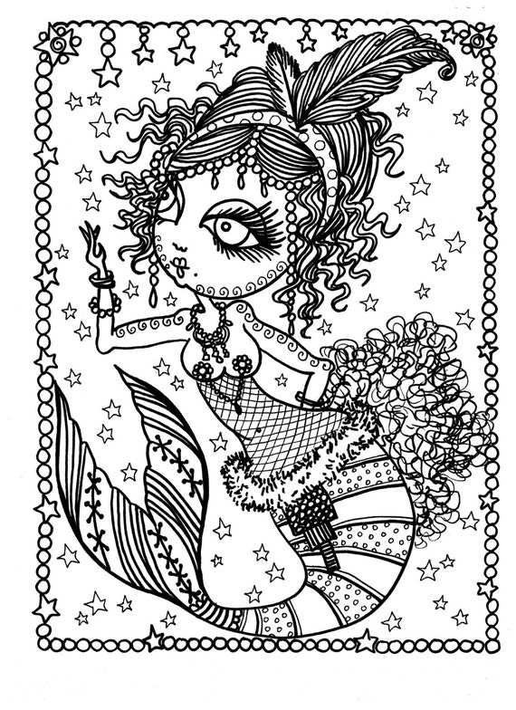 Download 5 Pages of Burlesque Mermaids to Color Adult coloring Dance