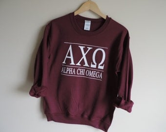 New Alpha Chi Omega Maroon Stripe Crewneck Sweatshirt // Size S-3XL // You Pick Color