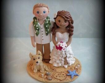 Wedding Cake Topper, Custom Cake Topper, Bride and Groom with Pet, Beach Theme, Personalized, Polymer Clay, Keepsake, Hawaiian Lei