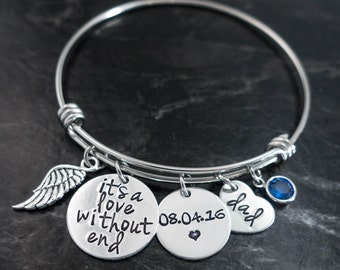 Charm Bracelet / In Memory of Dad / In memory of mom / Remembrance Jewelry / Love without end / Memorial Bracelet