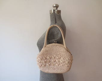 Vintage '50s/'60s Cream Colored Beaded, Straw Kiss Lock Purse, Made in Japan