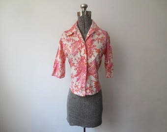Vintage '50s Miss Vogue California Floral & Paisley Print, 3/4 Sleeve Blouse, Medium, 36 Inch Bust