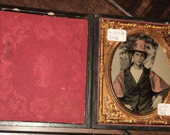 Superb Antique 1850s Ambrotype Photo - Fireman in Rare Parade Garb & Indian Helmet