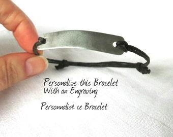 Unisex Engraved Bracelet, Personalized Bracelet, Adjustable Bracelet, Rustic Bracelet, Bracelet for Men, Gift Idea, Gift Box Available