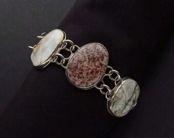 Mexican Beach Gem & Sterling Silver Bracelet (D)