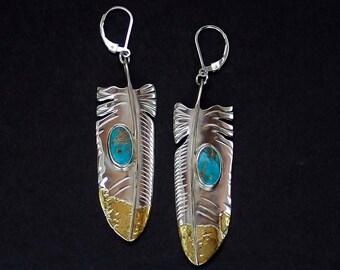 Feather Earrings - Sterling Silver, Alaskan Gold Nuggets & Kingman Turquoise
