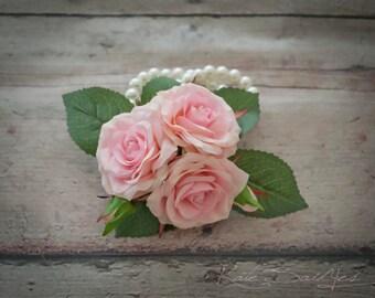 Wedding Corsage - Silk Pink Rose Pin Corsage
