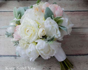 Peony Bouquet, Wedding Bouquet, Rustic Bouquet, Silk Bouquet, Bridal Bouquet, Spring Bouquet