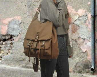 Handmade backpack -purse in light brown  stonewashed canvas with leather details, named Diane , MADE TO ORDER