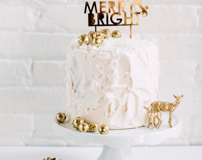 Merry & Bright Cake Topper 1 CT. , Laser Cut, Acrylic, Holiday and Christmas Cake Toppers