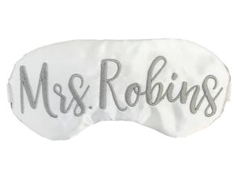 Personalized Satin Sleep Mask for The Bride to Be - Engagement- Bridal Shower Gift
