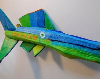 Fun Colorful, Whimsical, Rustic Fish Art Original Creation from Recycled Materials