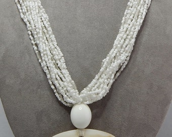 Multi Strand Seed Bead Necklace w/Mother of Pearl OVAL Disk    NEJ31