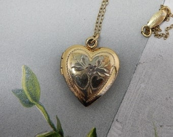 Nicely Etched Vintage 12K Gold Filled Heart Charm Pendant Necklace    OJ16