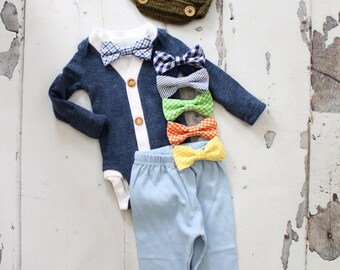 Spring Newborn Baby Boy Coming Home Outfit Set up to 4 Items Cardigan/ Bodysuit, Bow Tie Bodysuit, Baby Blue Pants & Knit Newsboy Hat