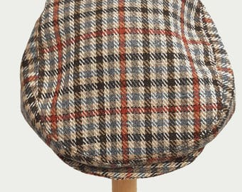 Toddler baby boy flat cap hat driving cap in brown tweed plaid  fit  approx 6 - 12 months