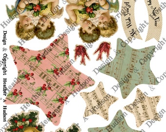 Christmas Ornament Angels Holly Star Merry New Year Cardinal Pink Aqua DIY Printable Digital Collage Sheet Victorian Papers