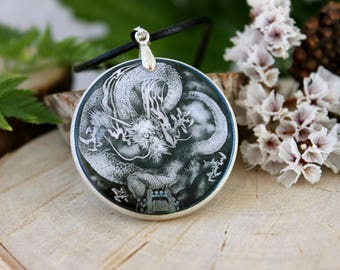 Dragon Necklace Polymer Clay Medallion
