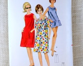 Butterick 4025 vintage sewing pattern 1960s Gathered neckline beach coverup shift Mini Mod Shift Dress Sack beatnik sleeveless Bust 31 32