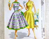 Vintage Pattern McCall's 3489 1950s Rockabilly retro dress full skirt Bust 30 fit and flare VLV blouse bateau