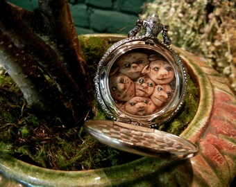 Labyrinth inspired Goblin King's Pocket Watch, steampunk costumia, Hand sculpted to Order, Antiqued Brass