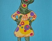 71. POLKAROO from 100 tiny brushstrokes (the childhood memory project) - Original Painting
