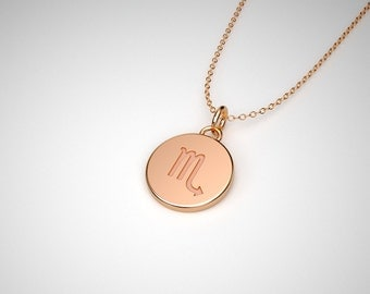 Scorpio Necklace - Solid Gold Tiny Scorpio Zodiac Charm.  14k, 18k Solid Gold & Platinum.