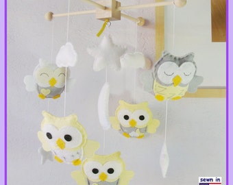 Baby Mobile, Baby Crib Mobile, Owl Nursery Decor, Neutral Owl Mobile, Newborn Baby Gifts, Yellow and Gray Nursery