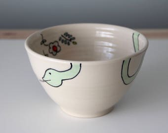 Handmade Ceramic Cereal or Soup Bowl - Snake with Flowers and Ladybugs
