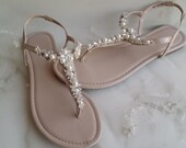 Ivory Wedding Sandals with Pearls and Crystals Ivory Bridal Sandals  Destination Wedding Sandals Beach Wedding Sandals Beach Wedding Shoes