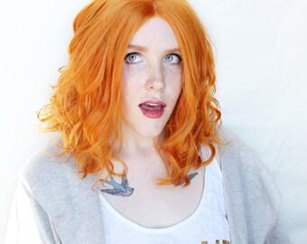 SALE Ginger Orange wig | Wavy Ginger Red Orange wig with Invisible Part | Cosplay wig, Scene wig | Tangerine Sands