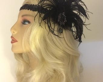 Flapper Headpiece, Great Gatsby, Flapper Girl Headband, Flapper Headband, 1920s Headpiece, 1920s Flapper, Gunmetal Brooch Headband, Black