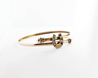 Antique Victorian 9 Karat Gold Garnet Pearl Horseshoe Bangle Bypass Rose Gold 9 Carat Good Luck Hallmarked Vintage Bracelet