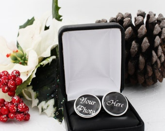 Dad Christmas Gift From Daughter In Law, Christmas Gift From Wife, Personalized Cufflinks for Dad, Custom Photo Cufflinks, Gifts From Kids