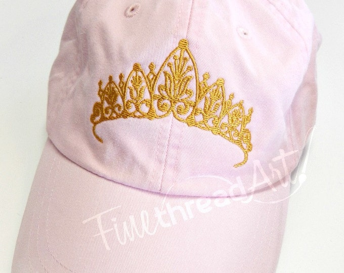 Featured listing image: LADIES Princess Tiara with Side Monogram Baseball Cap Hat LEATHER strap Mom Bridesmaid Bride Bachelorette Pigment Dyed Queen Crown Costume