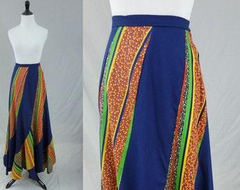 "70s Maxi Skirt - Swirl Twist Petal - Blue Red Green Yellow - Scallop Swirler - Vintage 1970s - 26"" waist"