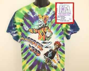 Grateful Dead Jack-in-the-box vintage tie-dye t-shirt L 90s 1993 R Sauer skeleton steal your face