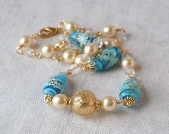Teal and Gold Necklace, Lamp Work Beads, Foiled Lamp Work Beads, Gold Leaf Lucite Focal, Glass Pearls, Yellow, Blue, Gold