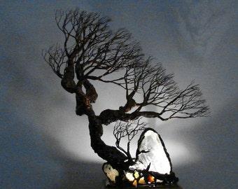 13 inch Wire Tree sculpture, Winds of Wisdom Spirit Guide, Quartz Crystal, Blue Cavansite, wood base  lamp, handmade unique home decor art
