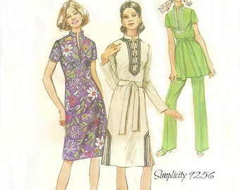 Simplicity 9256 Women's 1970's Dress, Tunic, Pants Pattern Size 12 Bust 34 FF